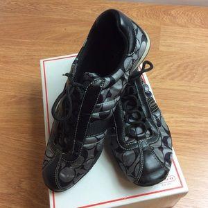 Coach Women's Sateen Kirby Shoes Black Gray Sz 9M